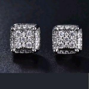 FASHION UNIQUE Jewelry - Men's women's Hip Hop 18K /Silver Princess Cut Whi